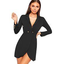 WearAll Damen Lang Hülle Schaltfläche Doppelt Breasted Strickjacke Top Jacke Damen Blazer - Schwarz - 40-42