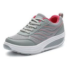 SAGUARO Keilabsatz Plateau Sneaker Mesh Erhöhte Schnürer Sportschuhe Laufschuhe Freizeitschuhe für Damen Grau Rot 37 EU