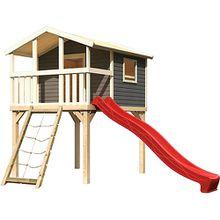 Stelzenhaus Benjamin terragrau mit Netzrampe und Rutsche rot