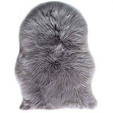 Faux Lammfell Schaffell Teppich Longhair Fell Nachahmung Wolle Bettvorleger Sofa Matte 60 x 90 cm Lammfellimitat Teppich (Grau)