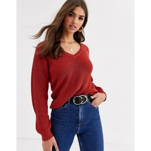 Vila - Grob gestrickter Pullover mit V-Ausschnitt - Rot