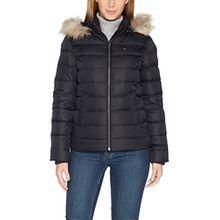 Tommy Jeans Hilfiger Denim Damen Federmantel Jacke DW0DW00504, Schwarz (Black Beauty), 42 (Herstellergröße: XL)