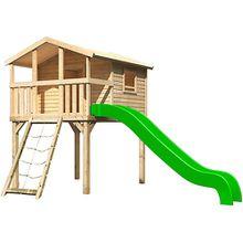 Stelzenhaus Benjamin mit Netzrampe und Rutsche grün