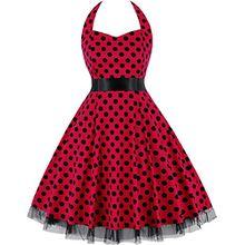 Damen 50s Vintage Retro Rockabilly Kleid Neckholder Cocktailkleider Sommer kleider