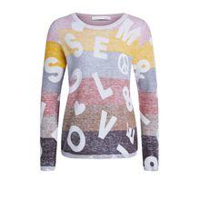 Streifen-Pullover mit Lettering