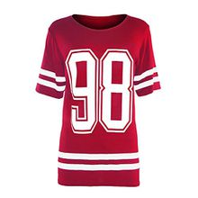 Be Jealous Damen T-Shirt 98 Print Red - College Varsity Sweats Top Icon
