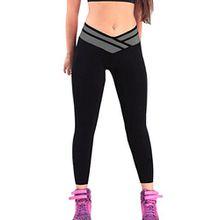4How Jogging damen hose sport Schwarz/Grau Leggings lange Strumpfhosen jogginghose,L