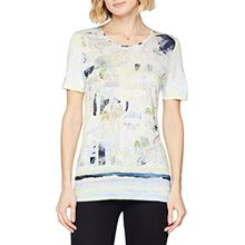 GERRY WEBER Damen Bluse T-Shirt 1/2 Arm, Mehrfarbig (Ecru/Weiss/Blau Druck 9088), 48
