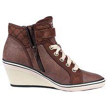 ESPRIT Damen Sneaker LEXA WEDGE mit Keilabsatz braun oder schwarz Gr. 36 - 41 (41, Braun)