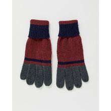 Boardmans – Weinrote Handschuhe mit Farbblockdesign