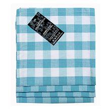 Homescapes Servietten Set Block Check 4tlg blau weiß kariert 45 x 45 cm aus 100% reiner Baumwolle, Stoffservietten blau