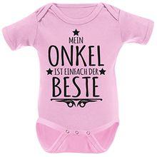 Mikalino Babybody Mein Onkel ist einfach der Beste kurzarm, Farbe:rosa;Grösse:3-6 Monate-