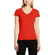 Fruit of the Loom Damen T-Shirt SS045M, Rot - Rot, X-Large