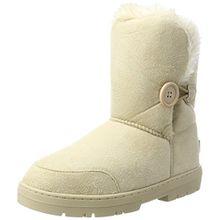 Damen Schuhe Single Knopf Fell Schnee Regen Stiefel Winter Fur Boots - Beige - 39 - AEA0169