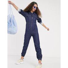 Monki – Day – Langärmliger Jeans-Jumpsuit in dunkler Waschung-Blau