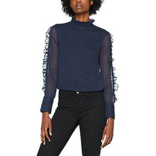 VERO MODA Damen Bluse Vmlaura L/S Top, Blau (Navy Blazer Navy Blazer), 38 (Herstellergröße: M)