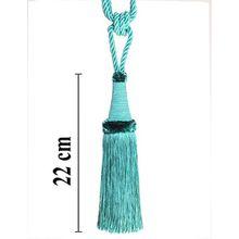 Raffhalter 65 cm / Quaste 22 cm mit Kordel Farbe Türkis Schmuckquaste Gardinen Vorhang Gardinenhalter Quaste Halter für Gardinen Barock Jugendstil