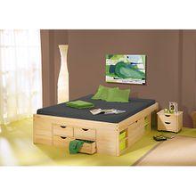 Funktionsbett mit Schubkästen Schuby, Kiefer massiv, natur, 180x200 cm holzfarben