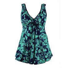 Rocorose Damen Rückenfrei Große Größen Zweiteiliger Tankini Bademode Grün Blume 48
