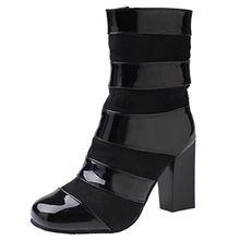 AIYOUMEI Damen Winter Lack Blockabsatz Stiefeletten mit 8cm Absatz Modern Elegant Stiefel Schuhe