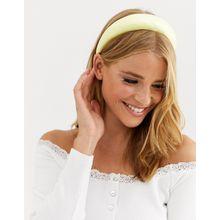 ASOS DESIGN - Wattiertes Haarband aus Satin in Pastellgelb - Gelb