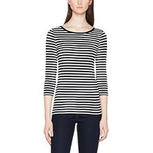 PIECES Damen Langarmshirt Pcrine 3/4 Sleeve Top Noos, Mehrfarbig (Black Stripes: Bright White), 38 (Herstellergröße: M)