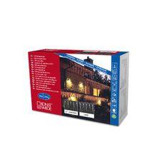 Konstsmide 2746-102 LED Eisregen Lichtervorhang mit 16 Zapfen/für Außen (IP44)/24V Außentrafo/24 warm weiße Dioden/weißes Kabel