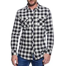 Mishumo Flanellhemd Regular Fit in schwarz für Herren