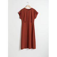 Short Sleeve Midi Dress - Red