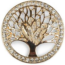 styleBREAKER Lebensbaum Magnet Schmuck Anhänger für Schals, Tücher oder Ponchos mit Strassteinen, Brosche, Damen 05050029, Farbe:Gold