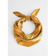 Pleated Triangle Scarf - Yellow