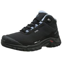 Salomon Shelter CS WP, Damen Trekking- & Wanderstiefel, Schwarz (Black/Black/Stone Blue), 40 2/3 EU (7 Damen UK)