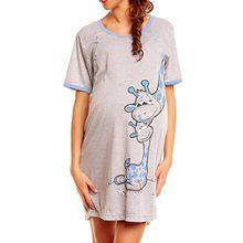 Happy Mama. Damen Umstands-Nachthemd mit Stillfunktion. Stillshirt Kurzarm. 366p (Blau, EU 38, S)