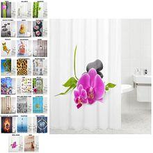 Duschvorhang, viele schöne Duschvorhänge zur Auswahl, hochwertige Qualität, inkl. 12 Ringe, wasserdicht, Anti-Schimmel-Effekt (Wellness, 180 x 180 cm)