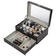 Readaeer zwei Schichte Uhrenbox für 12 Uhren Kasten Speicher mit Glasdeckel aus PU-Leder