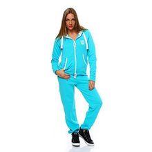 Hoppe Damen Jumpsuit Jogger Einteiler Jogging Anzug Trainingsanzug Overall (S, Türkis)