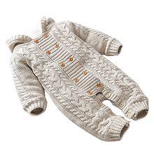 Free Fisher Baby Jungen/Mädchen Strick-Overall Jumpsuit Strampler Einteiler mit unabnehmbarer Kapuze, Beige, Gr. 68( Herstellergröße: 66)