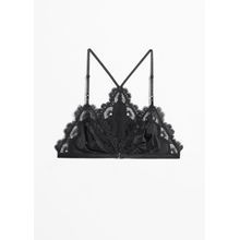 Lace Trim Racer Back Bralette - Black