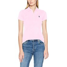 Polo Ralph Lauren Damen T-Shirt Stretch Mesh/Julie Polo, Rosa (Country Club Pink 000), Small