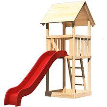 Spielturm Lotti mit Satteldach und Rutsche rot
