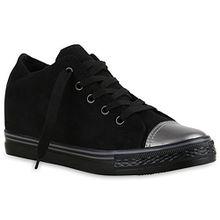 Damen Sneaker Wedges Keilabsatz Sneakers Glitzer Zipper Wedge Turn Metallic Schuhe 136845 Schwarz Metallic 38 Flandell