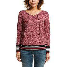 Cecil Damen Langarmshirt 311664, Rot (Cranberry Red Melange 31096), Large