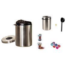 Xavax Edelstahldose für 1kg Kaffeebohnen, Tee, Kakao, mit Aromadeckel silber Neu mit Löffel + Schoko Metallstreuer und 6 Schablonen