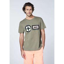 CHIEMSEE T-Shirt Frontprint im PlusMinus-Design - GOTS zertifiziert khaki Herren
