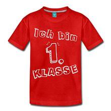 Spreadshirt Einschulung Ich Bin 1. Klasse Schulanfänger Kinder Premium T-Shirt, 134/140 (8 Jahre), Rot