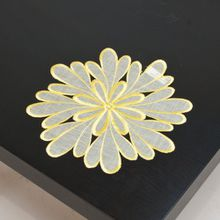 Organza Deckchen ca. 25 cm rund Blüte gelb, 8927-1
