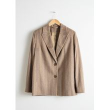 Striped Wool Blend Cape Blazer - Yellow
