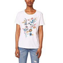 edc by ESPRIT Damen T-Shirt 048CC1K078, Mehrfarbig (White 100), Large
