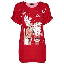 Be Jealous Damen Weihnachten Schneemann tanzende Rentier Weihnachten übergroßer Baggy-Stil T-Shirt UK Übergröße 8-22 - winkender Santa Rentier rot, M/L (UK 12/14)