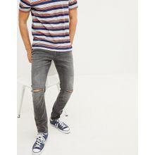 Esprit - Graue Stretch-Jeans in enger Passform mit Knierissen - Grau